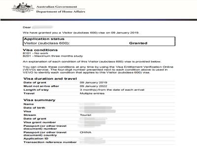 澳大利亚3年多次有效签证顺利出签