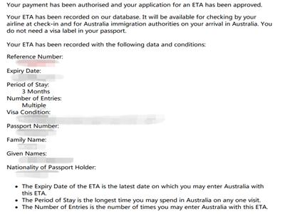 顺利获得澳大利亚ETA签证